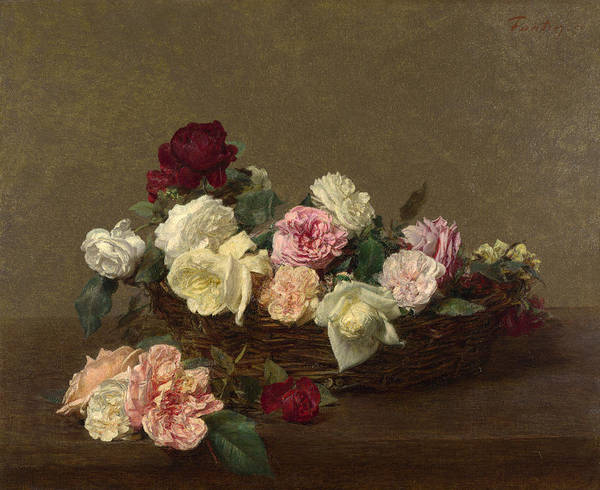 A Basket Of Roses Art Print