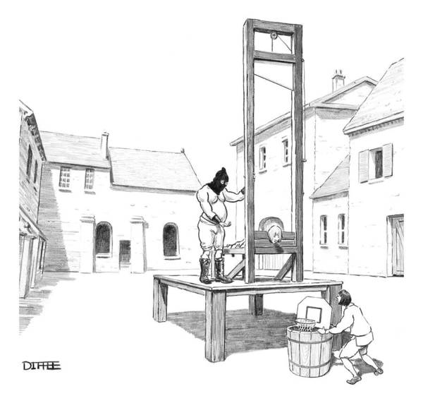 November 2nd Drawing - A Basketball Hoop Is Placed Under A Guillotine by Matthew Diffee