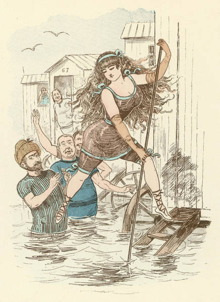 Bather Drawing - A Bather Demonstrates Her  Dexterity by Mary Evans Picture Library