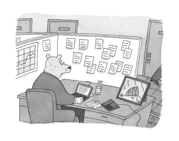 At Home Drawing - A Bear Dressed As An Office Worker Sits by Peter C. Vey