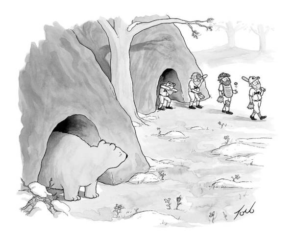 Team Drawing - A Bear Emerges From A Cave by Tom Toro