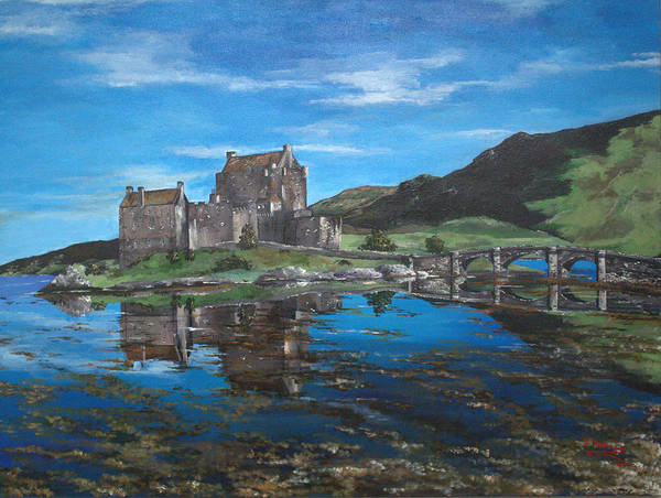 Eilean Donan Castle Painting - A Beautiful Scottish Day by Julia Robinson