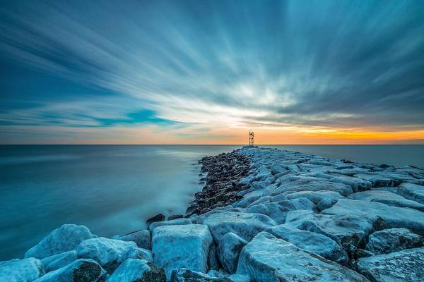 A Beautiful Sunrise At The Old Scituate Lighthouse Art Print