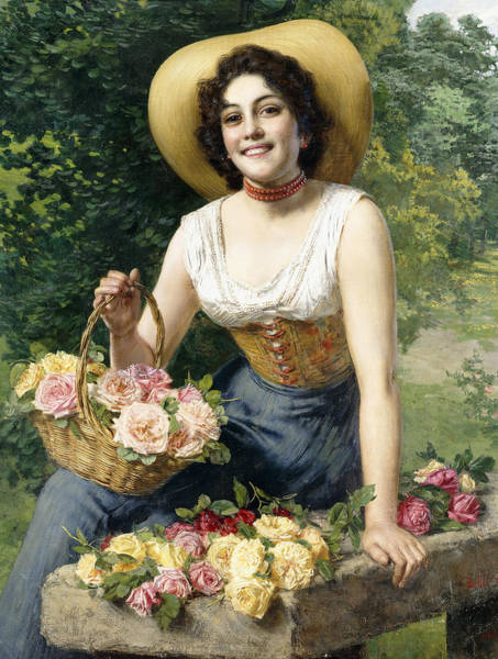 Corset Painting - A Beauty Holding A Basket Of Roses by Gaetano Bellei