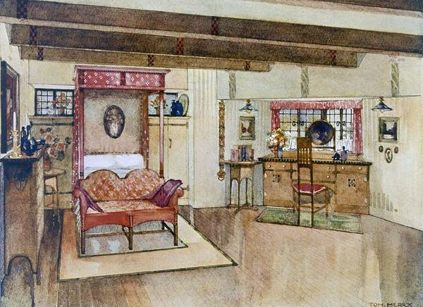 Beam Drawing - A Bedroom In The Arts & Crafts Style by Tom Merry