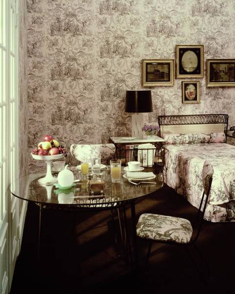 Fruit Bowl Photograph - A Bedroom With Matching Wallpaper by Haanel Cassidy