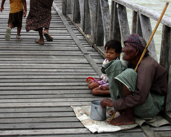 Photograph - A Beggar On The U Bein Bridge by RicardMN Photography