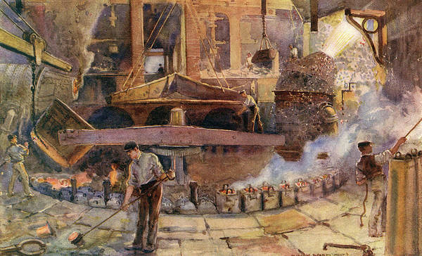 Steel Drawing - A Bessemer Converter In A Steelworks -- by Mary Evans Picture Library