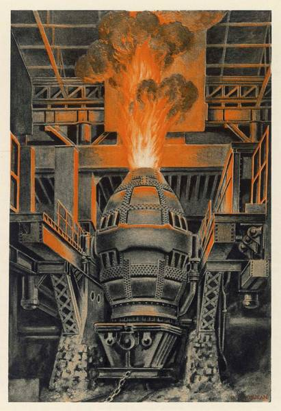 Steel Drawing - A Bessemer Converter In The Longwy by Mary Evans Picture Library