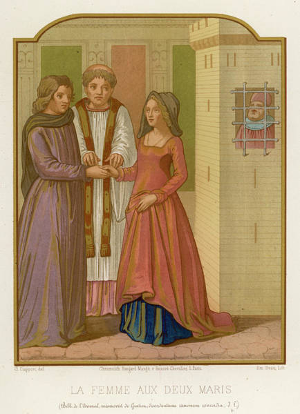 Wall Art - Drawing - A Bigamous Woman With Two Husbands (one by Mary Evans Picture Library