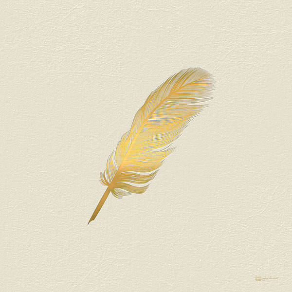 Digital Art - A Bird Feather - Embossed Gold On Linen  by Serge Averbukh