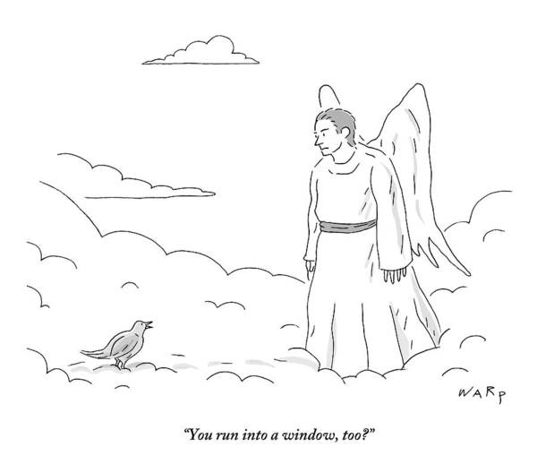 Death Drawing - A Bird In Heaven Addresses A Male Angel And Asks by Kim Warp