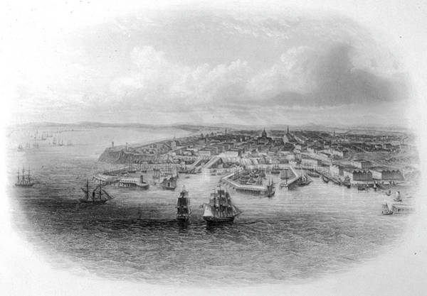 Ukraine Drawing - A Bird's Eye View Of The Harbour by Mary Evans Picture Library