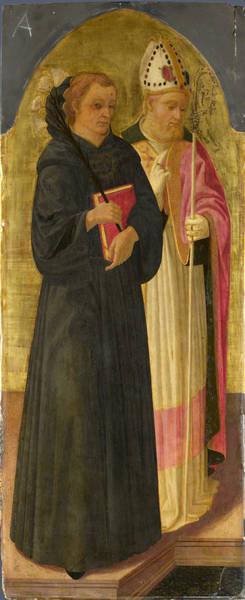 Painting - A Bishop Saint And Saint Nicholas Of Tolentino by Zanobi Machiavelli