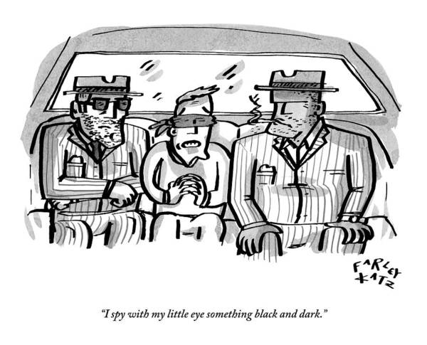 December 19th Drawing - A Blindfolded Man In The Backseat Of A Car by Farley Katz