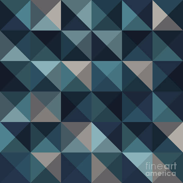 Symmetrical Digital Art - A Blue Abstract Vector Pattern by Mike Taylor