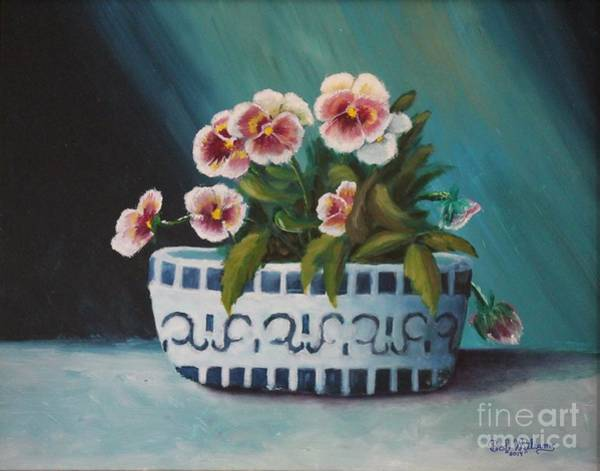 Painting - A Blue Bowl Of Pansies by Bob Williams