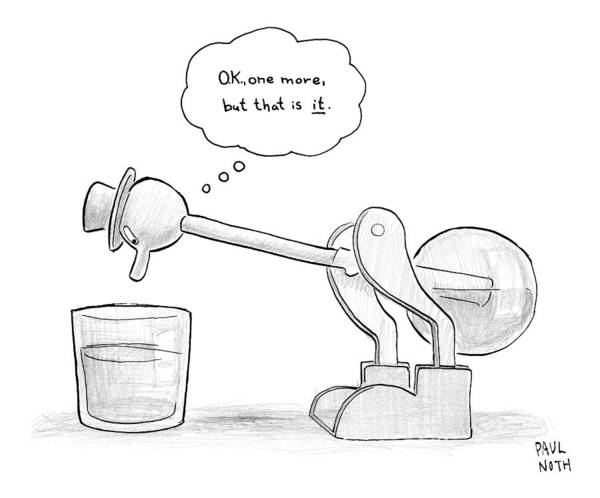 Chicken Drawing - A Bobbing Duck Toy Is Dipping Its Beak by Paul Noth