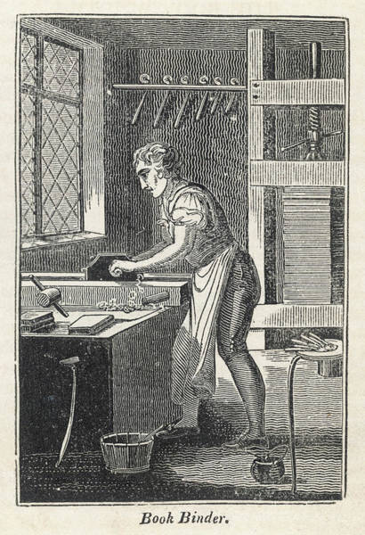 Wall Art - Drawing - A Book Binder Using A Vice To  Compress by Mary Evans Picture Library