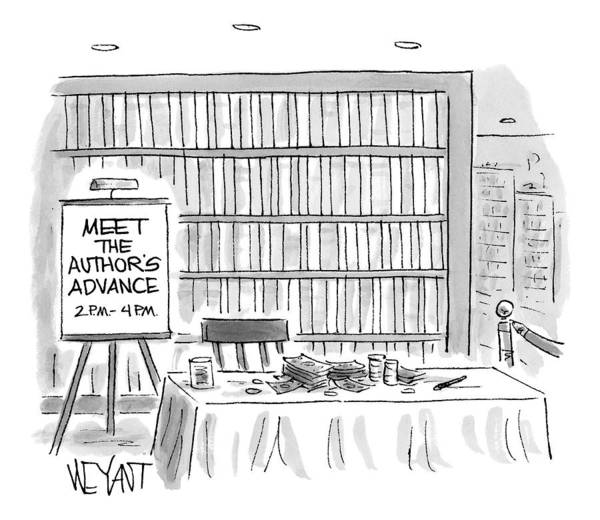 Authors Drawing - A Book-signing Table With A Pile Of Money And An by Christopher Weyant