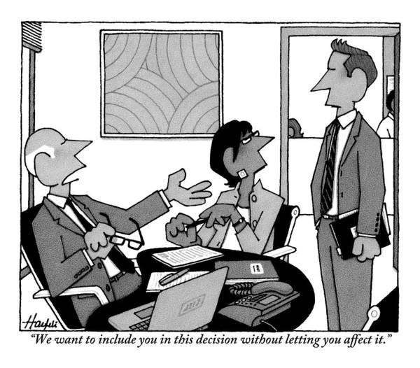 Decisions Drawing - A Boss Addresses One Of His Employees by William Haefeli
