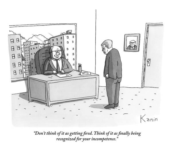 Boss Drawing - A Boss Fires A Worker by Zachary Kanin