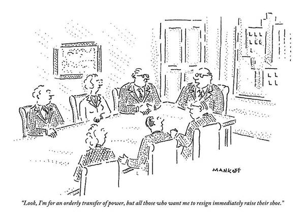Egypt Drawing - A Boss Holds A Meeting With Other Executives by Robert Mankoff