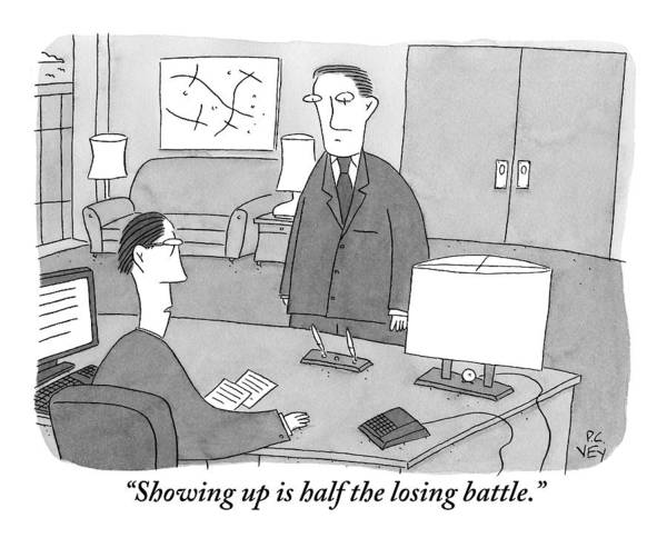 Battle Drawing - A Boss Sitting At His Desk Speaks To An Employee by Peter C. Vey