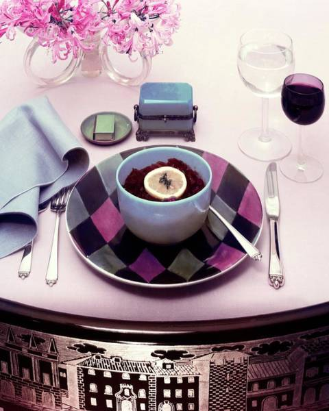Home Accessories Photograph - A Bowl Of Food On A Pink Table by Haanel Cassidy