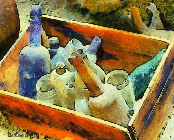 Digital Art - A Box Of Bottles by Barbara Snyder