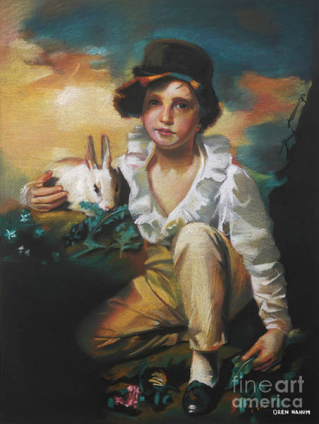 Rabit Painting - A Boy And A Rabbit by Oren Nahum