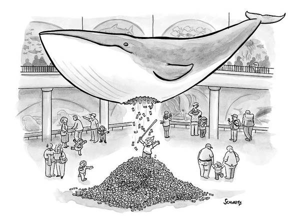 History Drawing - A Boy Hits The Giant Whale In The Museum by Benjamin Schwartz