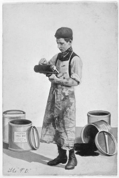 Inking Wall Art - Photograph - A Boy Inking A Roller by Mary Evans Picture Library