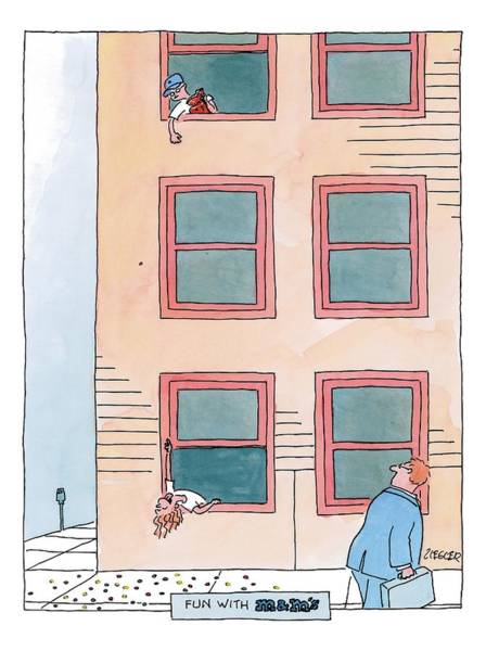 Window Drawing - A Boy Leaning Out Of The Third Story Window by Jack Ziegler