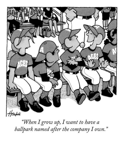 Little Drawing - A Boy On A Little League Team Talks by William Haefeli