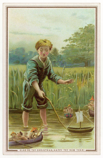 Folklore Drawing - A Boy, Sailing His Toy Boat by Mary Evans Picture Library