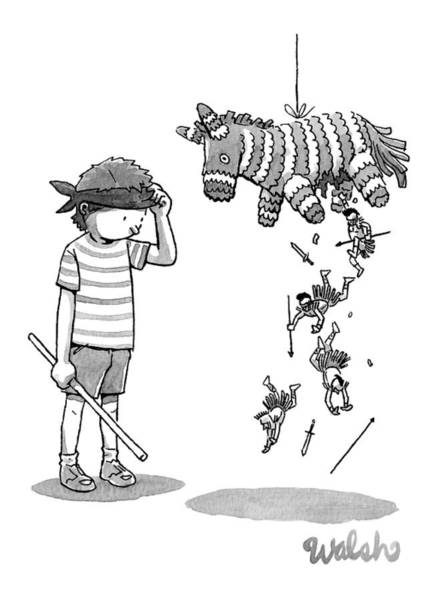 Roman Soldier Drawing - A Boy Watches As The Pinata He Just Hit Drops by Liam Walsh