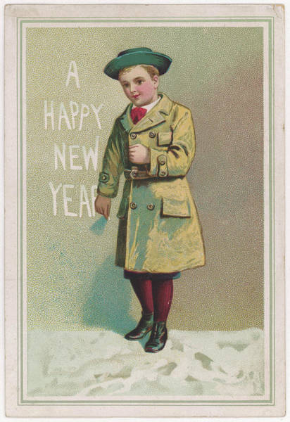Wall Art - Drawing - A Boy Writes His New Year  Greeting by Mary Evans Picture Library