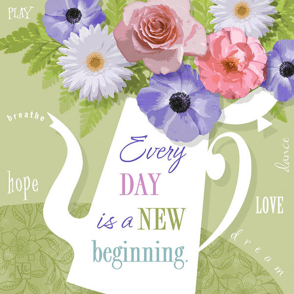 Quote Digital Art - A Brand New Day by Valerie Drake Lesiak