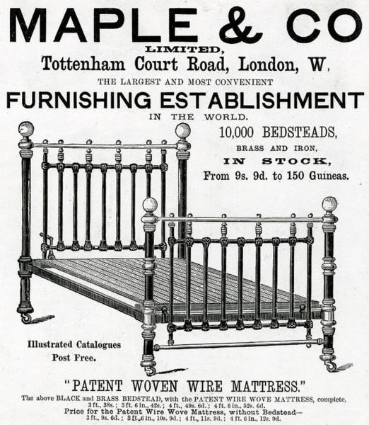 Maple Drawing - A Brass Bedstead From Maple's by  Illustrated London News Ltd/Mar