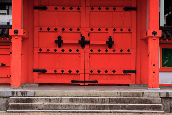 Kansai Wall Art - Photograph - A Bright Red Door In The Grounds by Paul Dymond