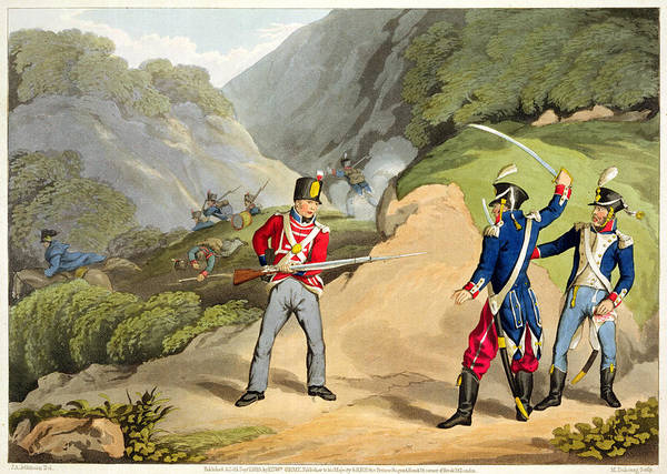 Sword Drawing - A British Soldier Taking Two French by John Augustus Atkinson