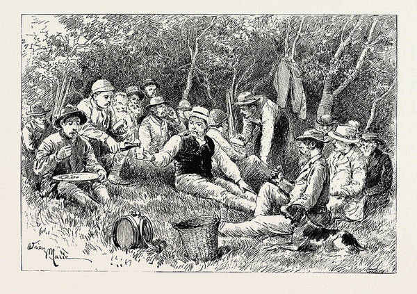 Buck Drawing - A Buck-hunting Excursion In South Africa Tiffin In The Bush by South African School