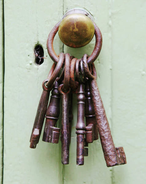 Doorknob Photograph - A Bunch Of Old, Chunky Keys On A Ring by Kathy Collins