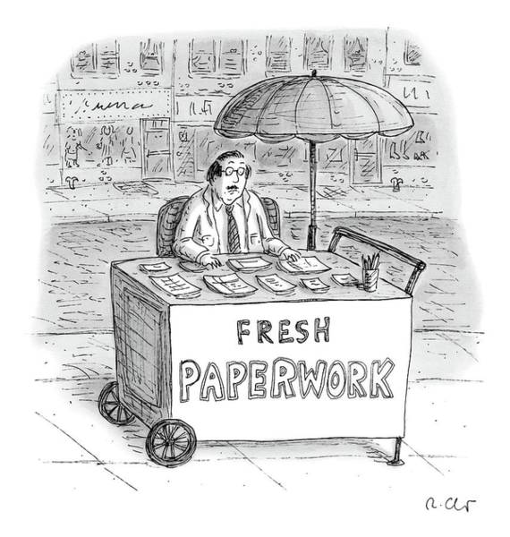 Hot Drawing - A Businessman Sits Behind A Food Cart/desk by Roz Chast
