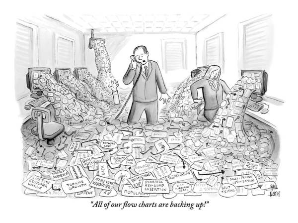 Flood Drawing - A Businessman Talks On The Phone As His Office by Paul Noth