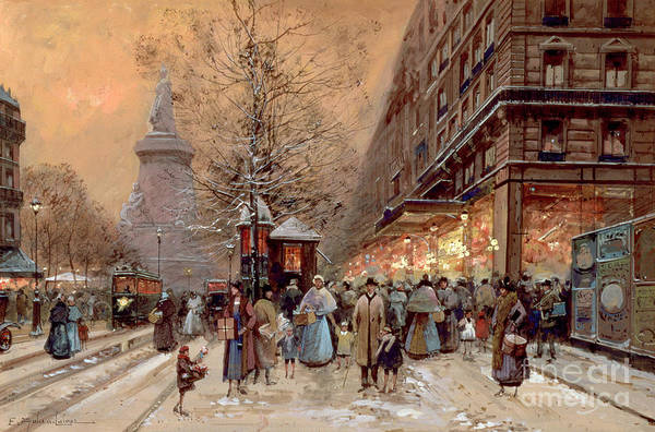 Snow Scene Painting - A Busy Boulevard Near The Place De La Republique Paris by Eugene Galien-Laloue