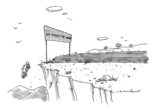 Road Trip Drawing - A Car Has Driven Off A Desert Cliff by Michael Crawford