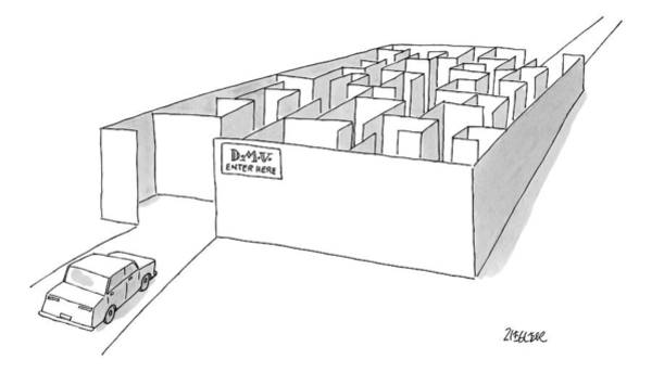November 2nd Drawing - A Car Is Entering A Maze Labeled by Jack Ziegler