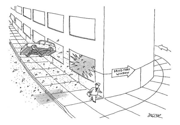 Drive Drawing - A Car Is Seen Flying Out Of A Broken Window Onto by Jack Ziegler